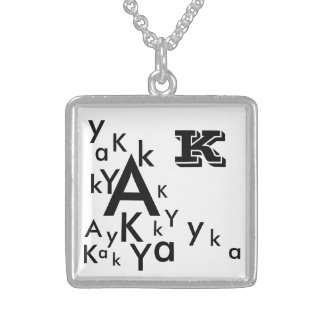 Sterling Silver Square Necklace with Letter