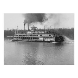 Stern-Wheel Steamboat Belle of Calhoun 1906 BW Poster
