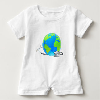 Stethoscope Earth World Globe Health Concept Baby Bodysuit