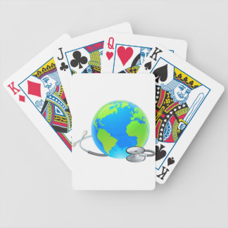 Stethoscope Earth World Globe Health Concept Bicycle Playing Cards