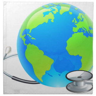 Stethoscope Earth World Globe Health Concept Napkin