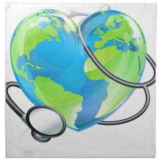 Stethoscope Heart Earth World Globe Health Concept Napkin