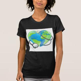 Stethoscope Heart Earth World Globe Health Concept T-Shirt