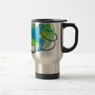Stethoscope Heart Earth World Globe Health Concept Travel Mug