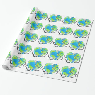 Stethoscope Heart Earth World Globe Health Concept Wrapping Paper