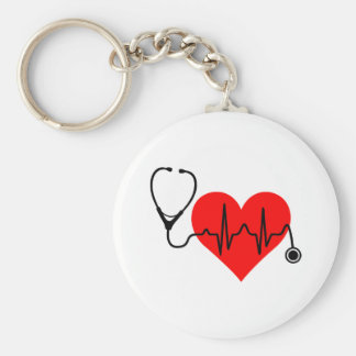 Stethoscope Heartbeat Heart Key Ring