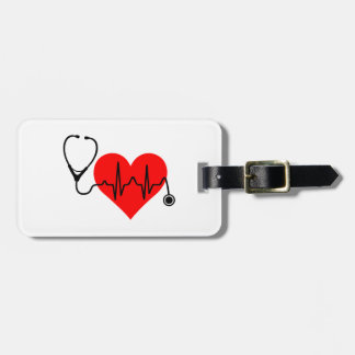 Stethoscope Heartbeat Heart Luggage Tag