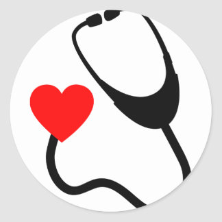 Stethoscope With Heart Classic Round Sticker