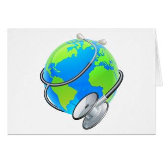 Stethoscope World Health Day Earth Globe Concept Card