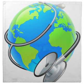 Stethoscope World Health Day Earth Globe Concept Napkin