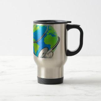 Stethoscope World Health Day Earth Globe Concept Travel Mug