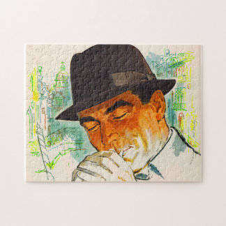 Stetson hat man lighting a cigarette jigsaw puzzle