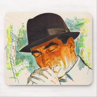 Stetson hat man lighting a cigarette mouse pad