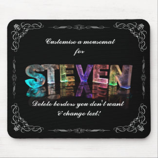 Steven  - The Name Steven in 3D Lights (Photograph Mouse Pad