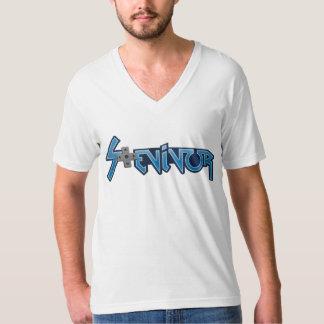 Stevivor.com premium white V-neck t-shirt