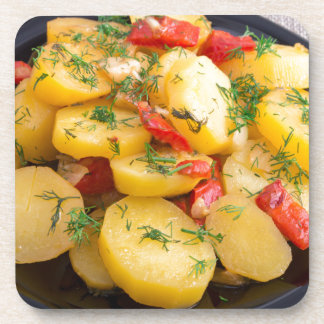 Stew of potatoes with onion, bell pepper and dill coaster