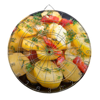 Stew of potatoes with onion, bell pepper and dill dartboard