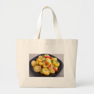 Stew of potatoes with onion, bell pepper and dill large tote bag