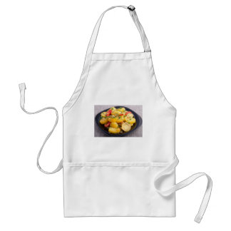 Stew of potatoes with onion, bell pepper and dill standard apron
