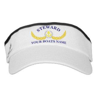 Steward custom boat name anchor motif visor