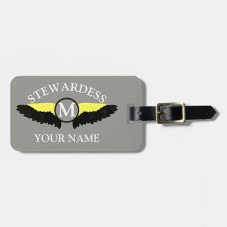 Stewardes aeroplane cabin crew bag tag