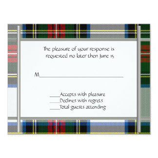 Stewart Dress Plaid Wedding RSVP Card