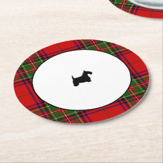 Stewart Plaid Black Scottie Round Paper Coaster