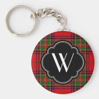 Stewart Plaid Monogram Basic Round Button Key Ring