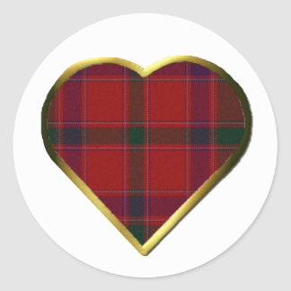 Stewart Red Plaid Heart Envelope Seal Round Sticker