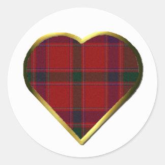 Stewart Red Plaid Heart Envelope Seal Round Sticker