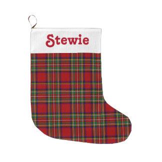 Stewart Royal Tartan Red Plaid Customize Name Large Christmas Stocking