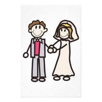 Stick Bride & Groom Stationery Paper