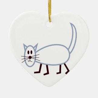 Stick Cat Ceramic Heart Decoration