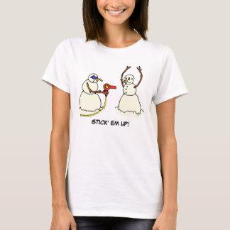 Stick Em Up Funny Snowman Bandit Shirt