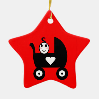 Stick Family Baby Ceramic Ornament