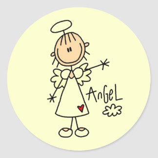 Stick Figure Angel T-shirts and Gifts Classic Round Sticker