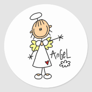 Stick Figure Angel T-shirts and Gifts Round Sticker