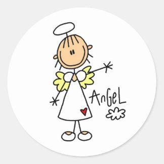 Stick Figure Angel T-shirts and Gifts Round Sticker