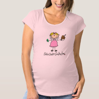Stick Figure Baby Under Construction Maternity T-Shirt