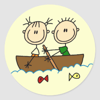 Stick Figure Boat Fishing Tshirts and Gifts Classic Round Sticker