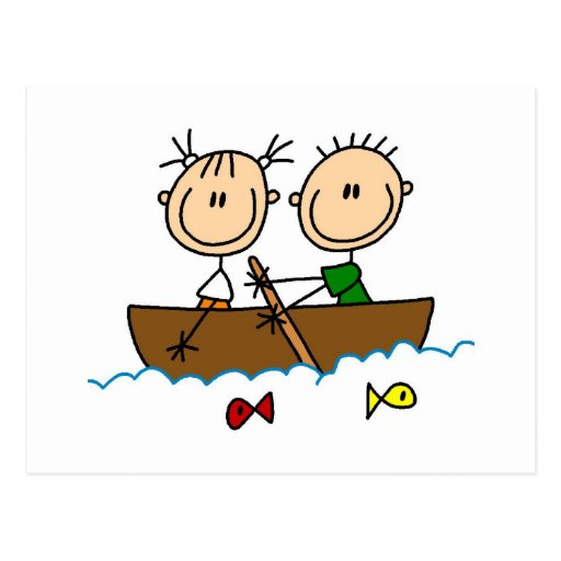 Stick Figure Boat Fishing Tshirts and Gifts Postcard