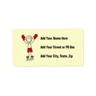 Stick Figure Boxer T-shirts and Gifts Address Label