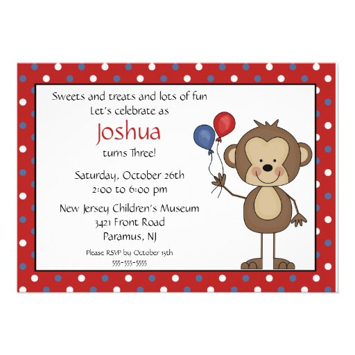 Stick figure Boy 1st  Birthday Invitation