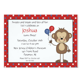 Stick figure Boy 1st  Birthday Invitation