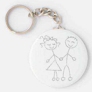 Stick Figure Boy and Girl Key Ring