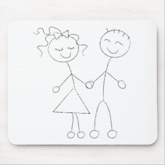 Stick Figure Boy and Girl Mouse Pad