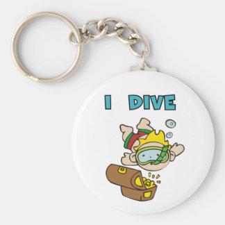 Stick Figure Boy I Dive Basic Round Button Key Ring