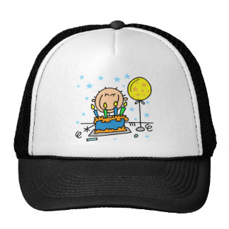 Stick Figure Boy With Birthday Cake Gifts Cap
