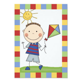Stick Figure Boy With Kite Birthday Invite