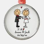 Stick Figure Bride & Groom Personalised Christmas Ornament